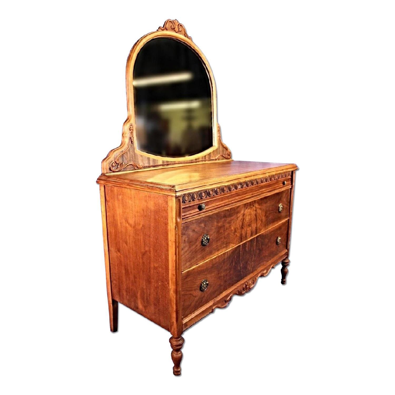 Antique Art Deco Veneered Dresser w/ Mirror