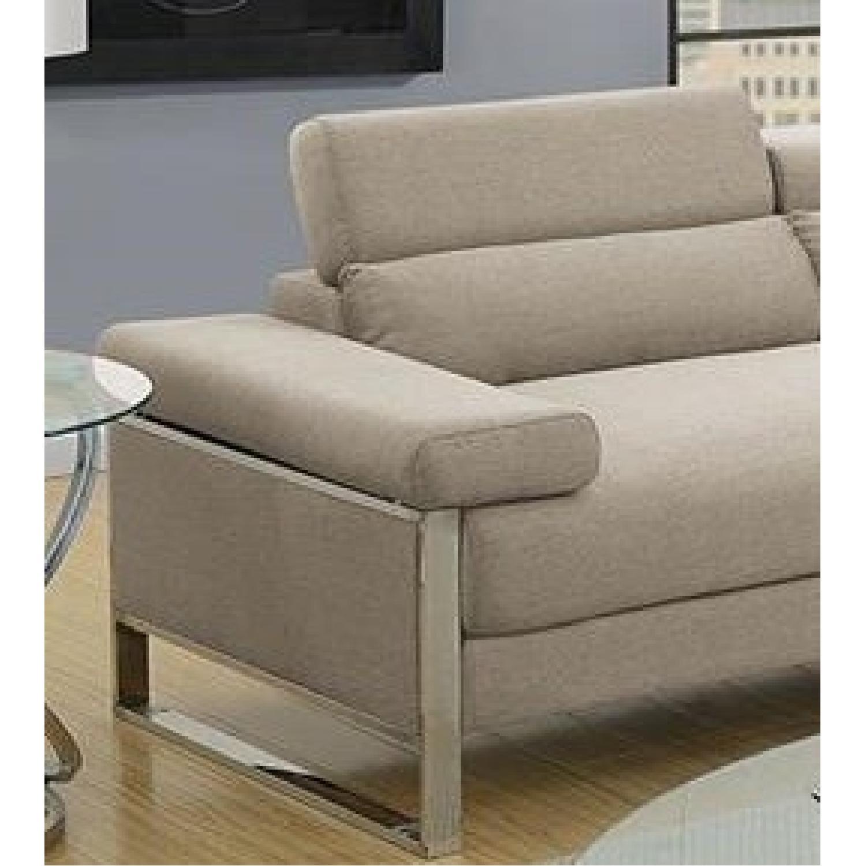 Beige Glossy Polyfiber 2 Piece Sectional Sofa Aptdeco