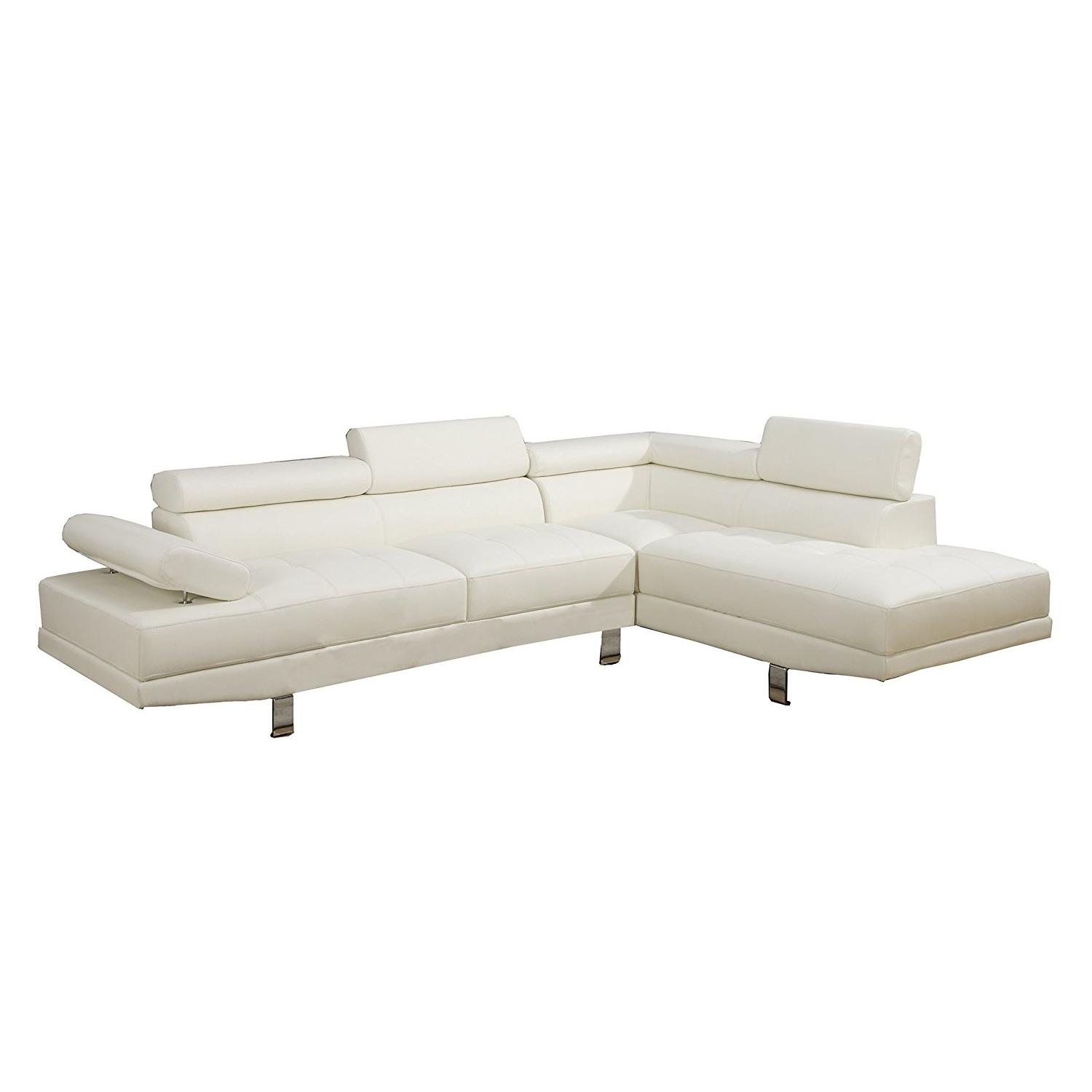 Modern White Faux Leather 2-Piece Sectional Sofa