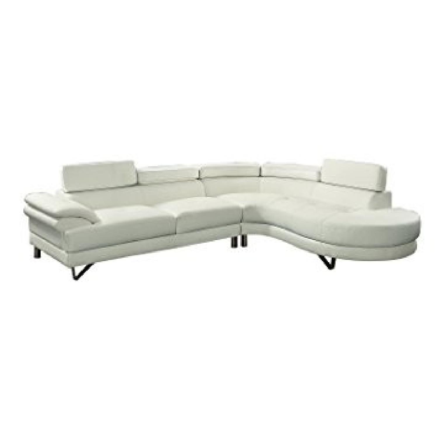 Modern White Faux Leather 2 Piece Sectional Sofa