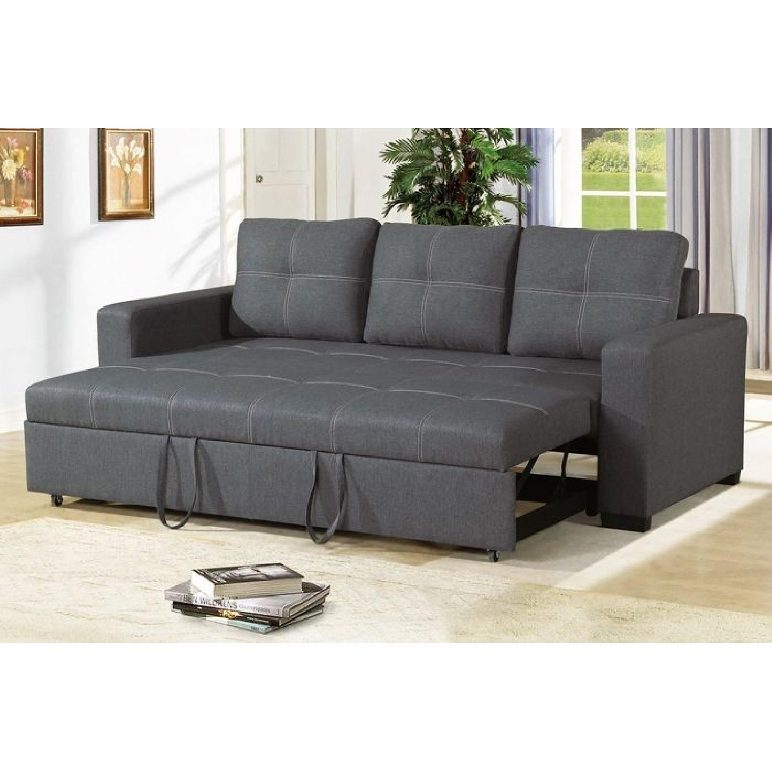 Blue Grey Polyfiber Convertible Sofa Bed