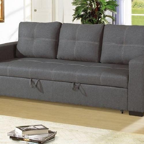 Blue Grey Polyfiber Convertible Sofa Bed