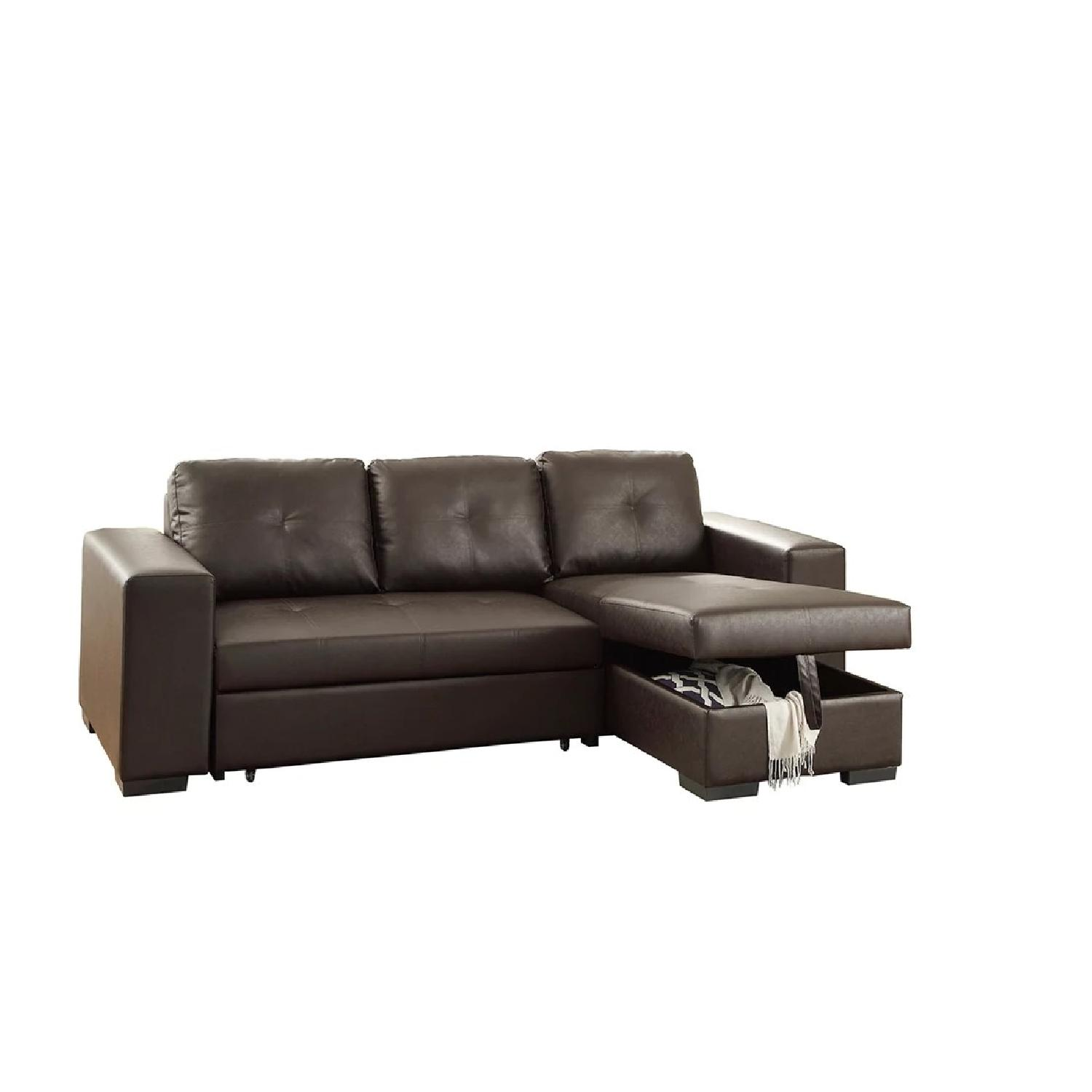 Convertible Espresso Leather Sectional Sofa w/ Storage
