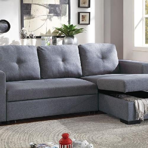 Blue Grey Polyfiber Convertible Sectional Sofa Bed