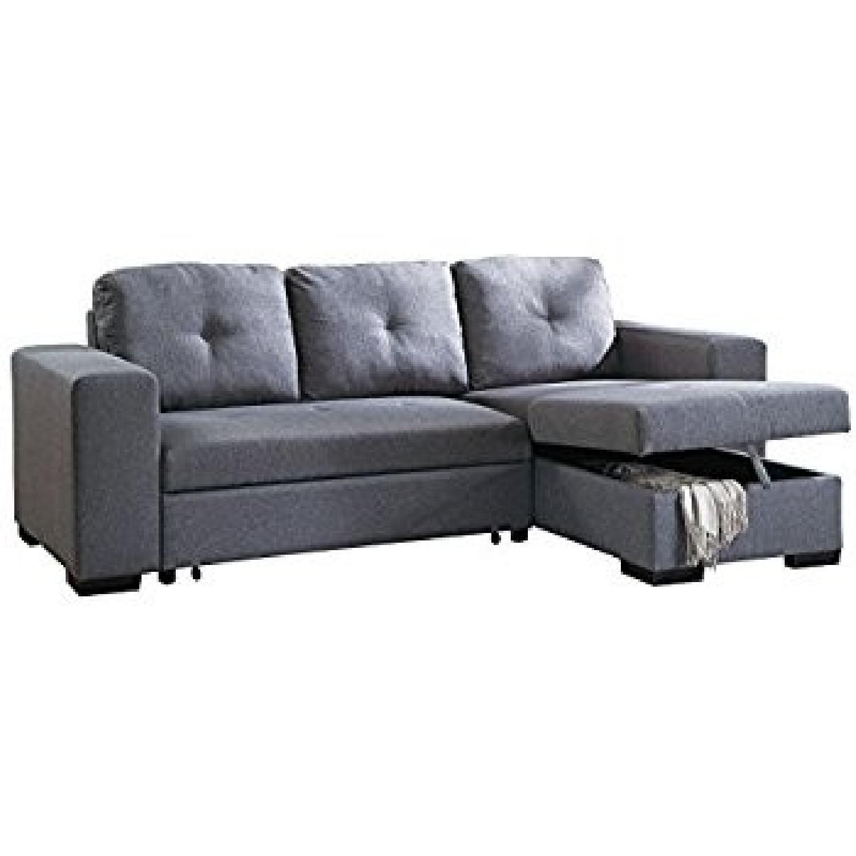 Blue Grey Polyfiber Convertible Sectional Sofa Bed - AptDeco