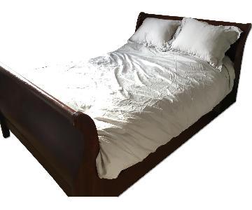 Cherry Wood Sleigh Full Size Bed Frame