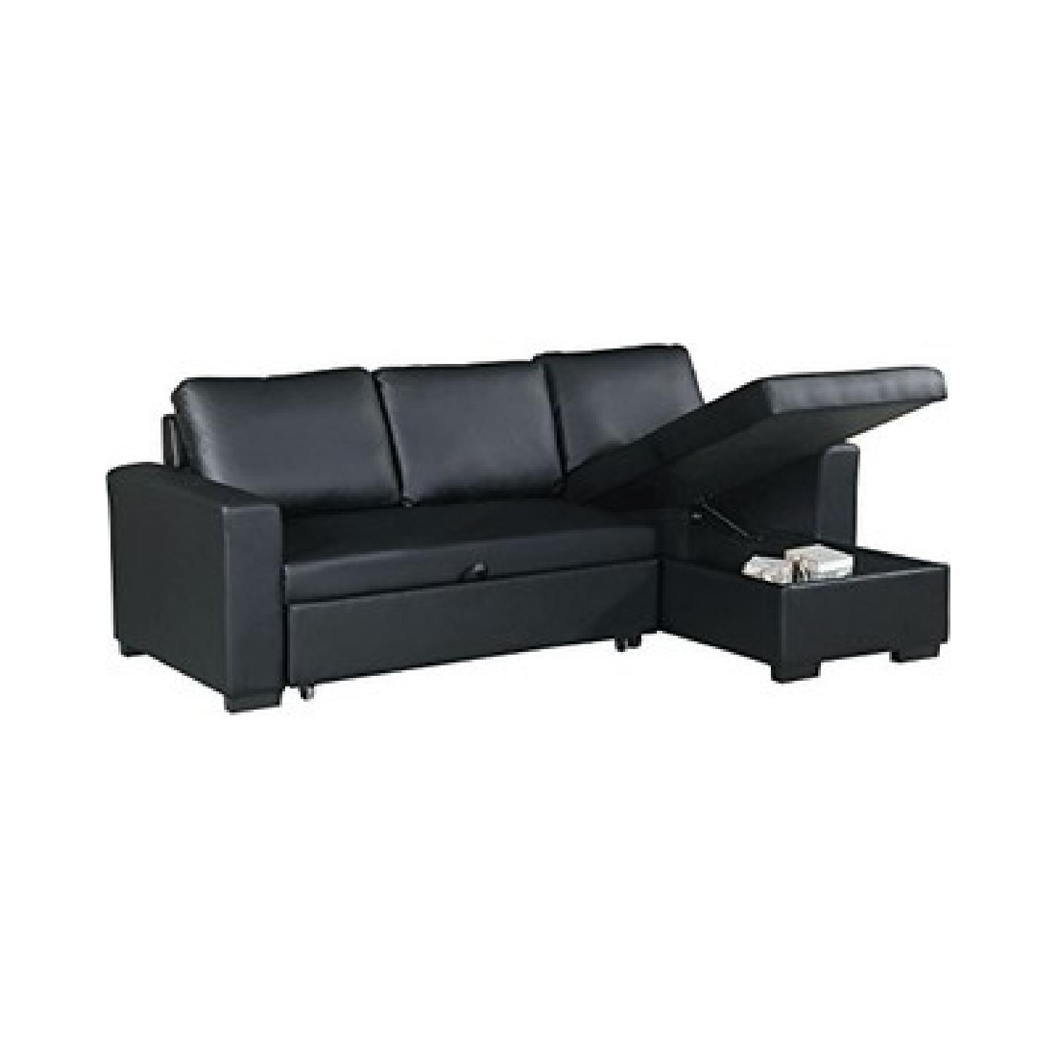 Black Bonded Leather Pull-Out Bed Sectional w/ Storage - image-0