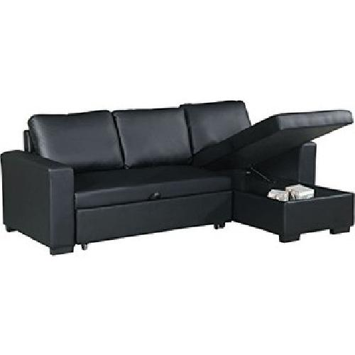 Black Bonded Leather Pull-Out Bed Sectional w/ Storage