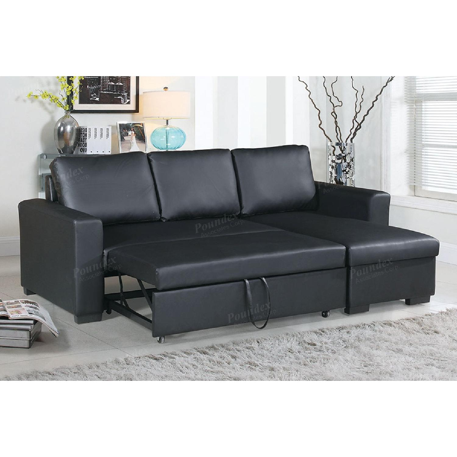 Black Bonded Leather Pull-Out Bed Sectional w/ Storage - image-1