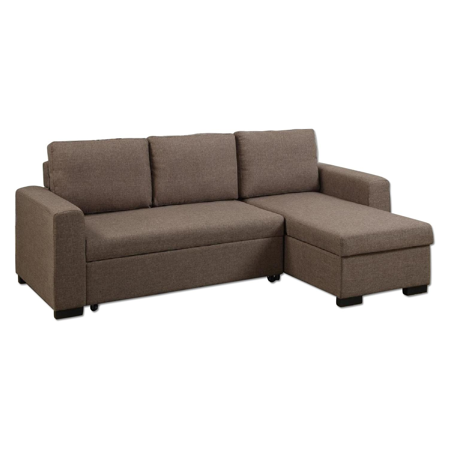Light Coffee Polyfiber Pull Out Bed Sectional W Aptdeco