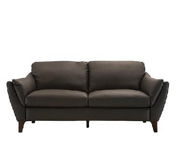 Raymour & Flanigan Greccio Italian Leather Sofa in Granite