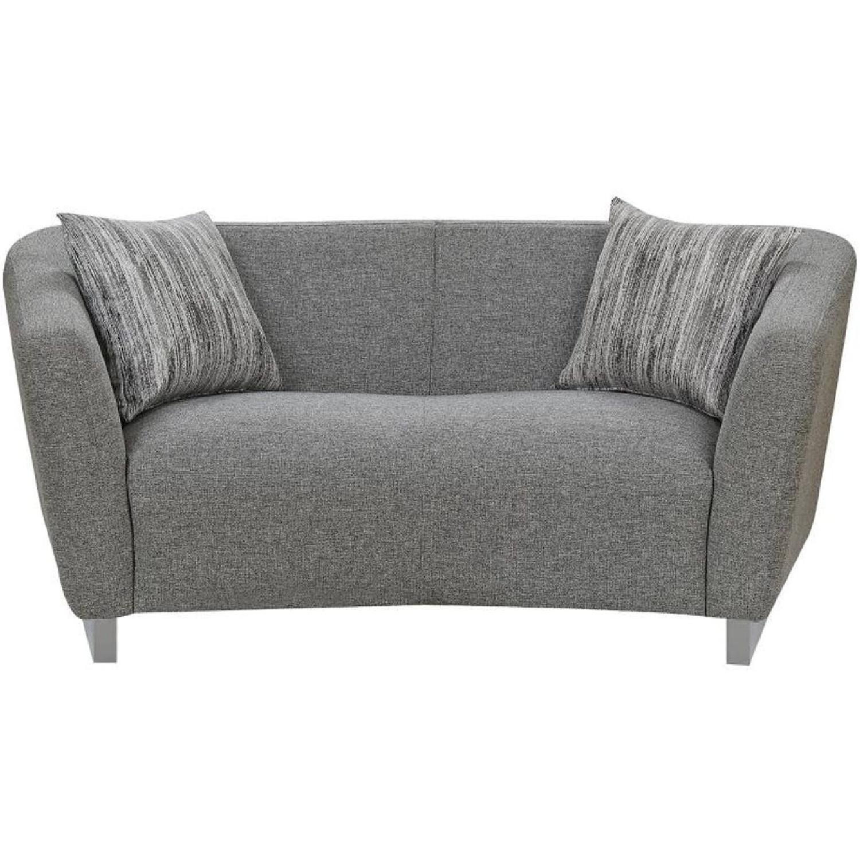 Modern Curved Back Loveseat w/ Grey Woven Fabric & Steel Leg