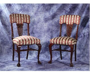 Antique Silk Upholstery Carved Georgian Side Chair