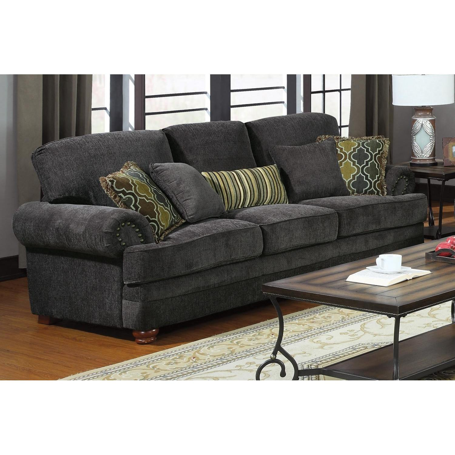 Coaster Sofa in Grey Chenille Fabric & Pocket Coil Seats