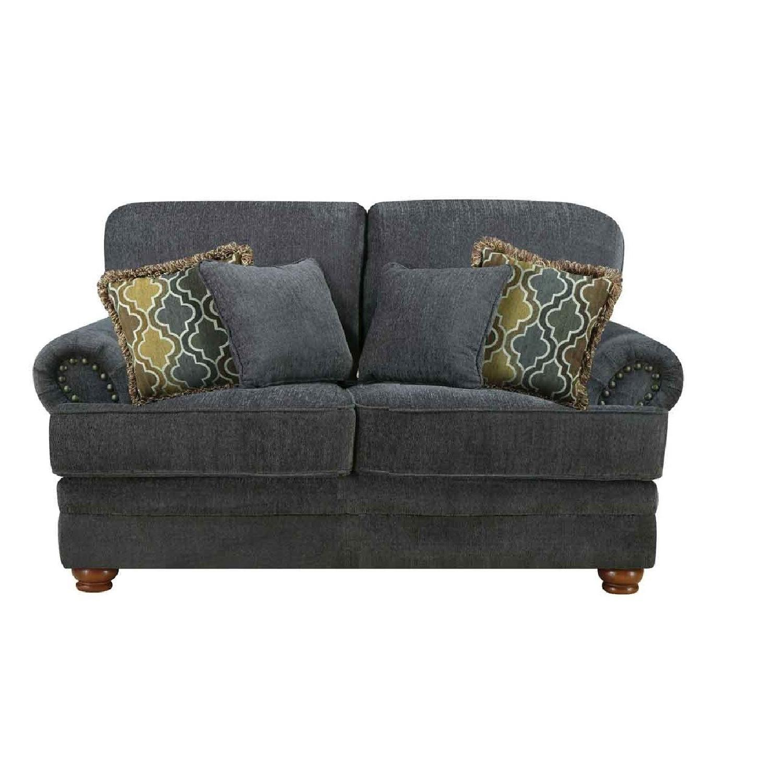 Coaster Grey Chenille Fabric Loveseat w/ Pocket Coil Seats