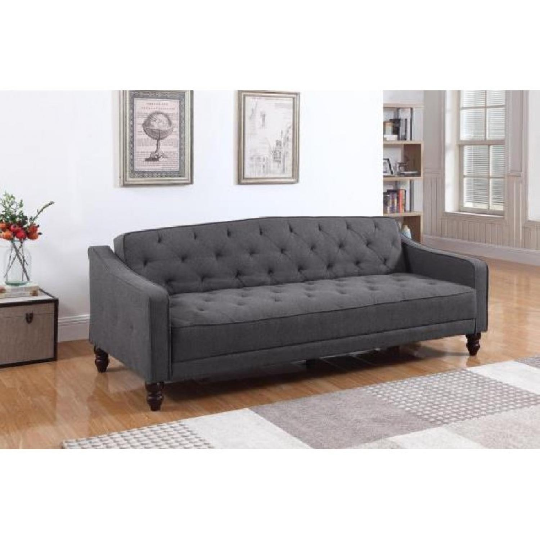 Coaster Modern Tufted Sleeper Sofa in Dark Grey Woven Fabric
