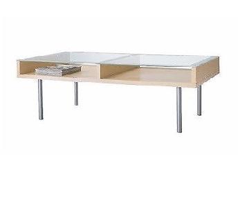Ikea Glass Top Light Beige Veneer Coffee Table