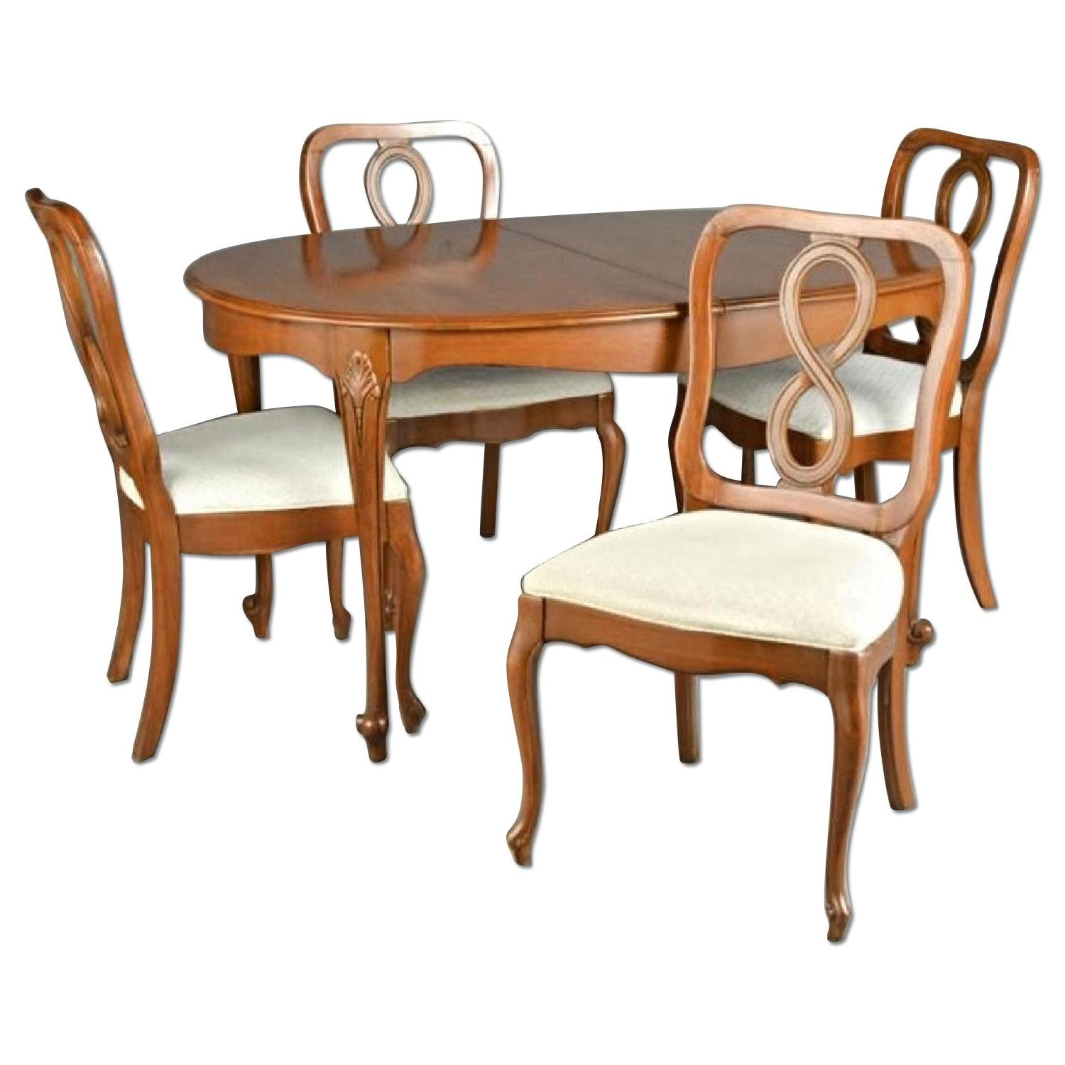 Queen Anne Fruitwood Carved Dining Table w/ 4 Chairs
