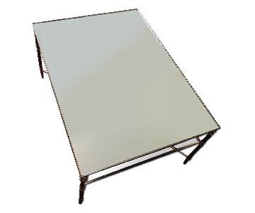 Room & Board Glass & Gilded Metal Coffee Table