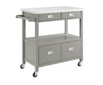 Gray Kitchen Island w/ Stainless Steel Counter Top