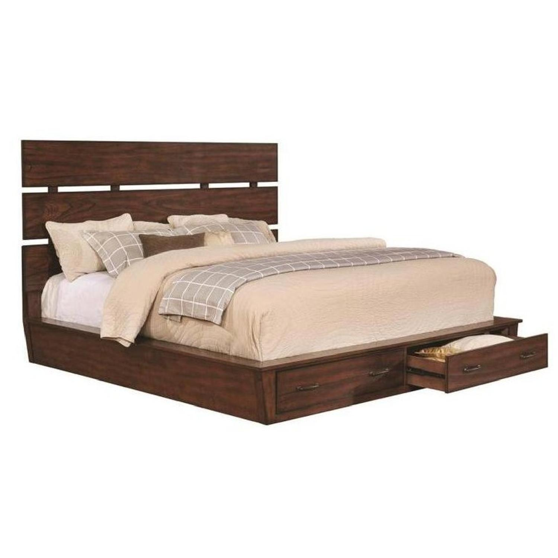 Coaster Queen Size Platform Bed in Dark Coca w/ 2 Drawers