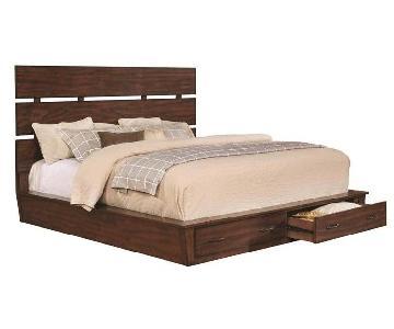 Coaster King Size Platform Bed in Dark Coca w/ 2 Drawers