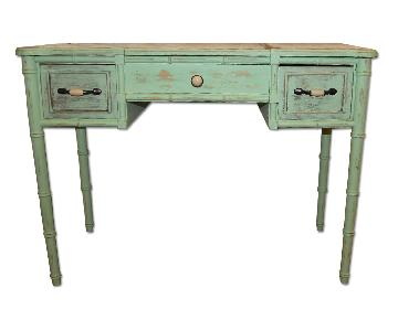 Vintage Paint Washed Wood Table w/ Drawers