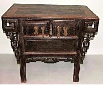 Early Chinese Teak Cabinet Table/Sideboard