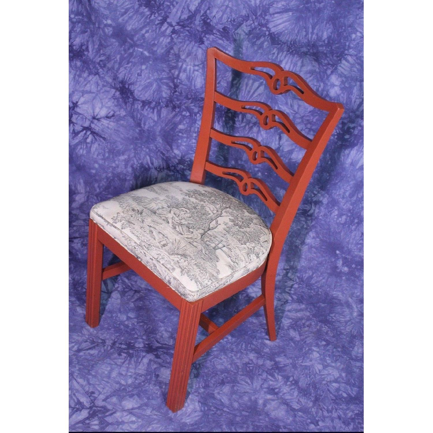 Vintage Red Painted Dining Side Chair-1