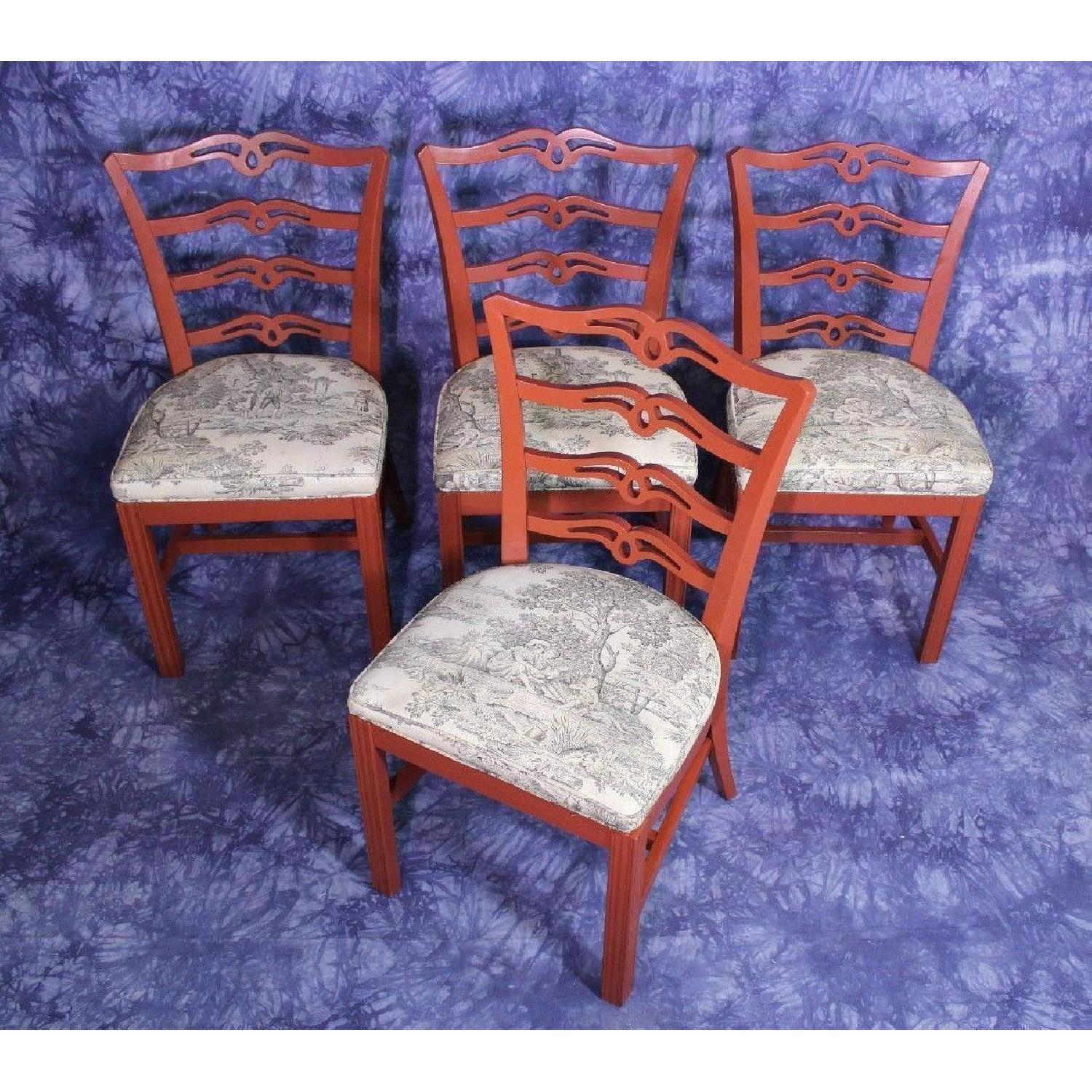 Vintage Red Painted Dining Side Chair-2