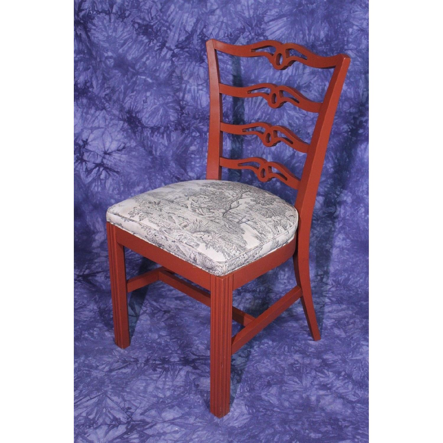 Vintage Red Painted Dining Side Chair-3