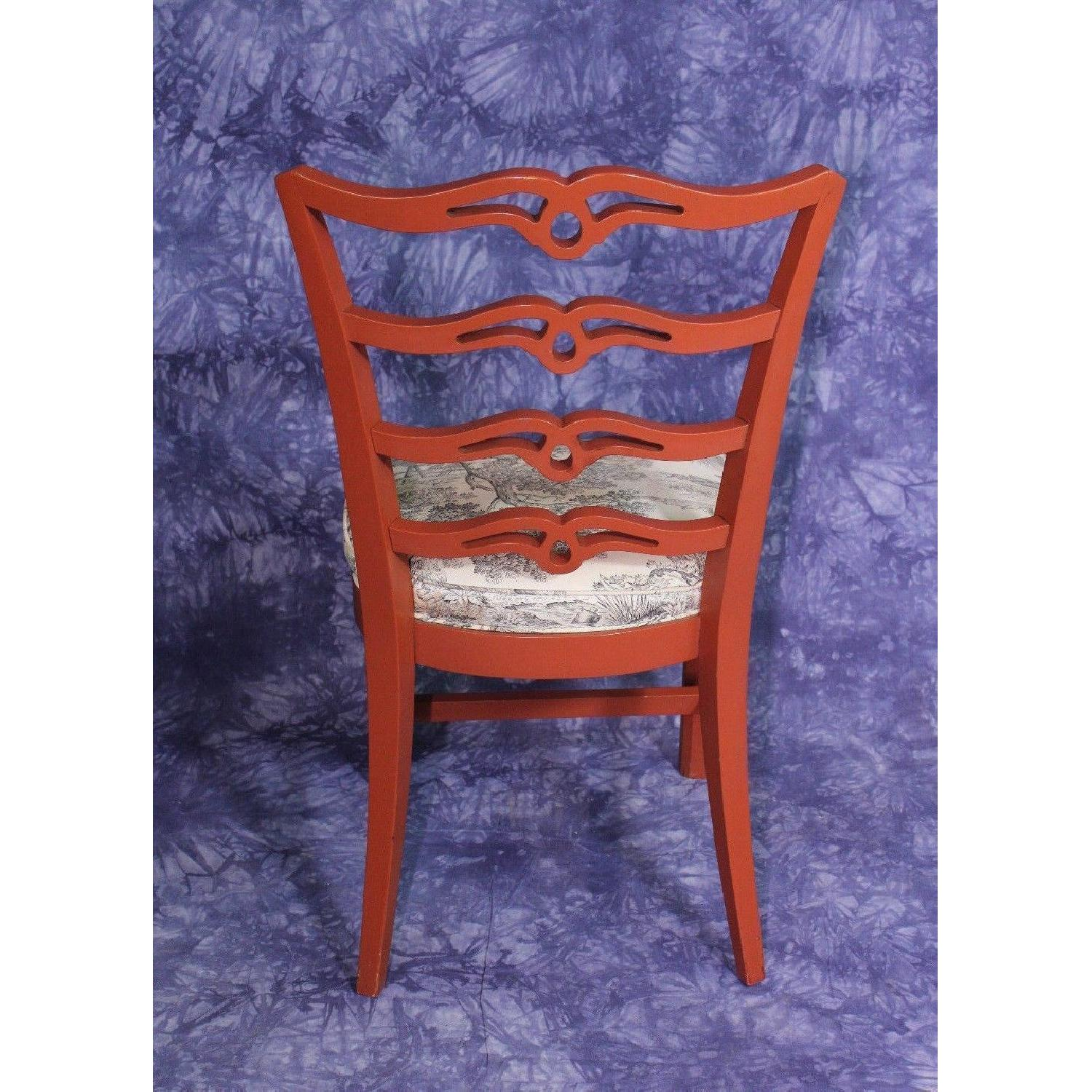 Vintage Red Painted Dining Side Chair-4