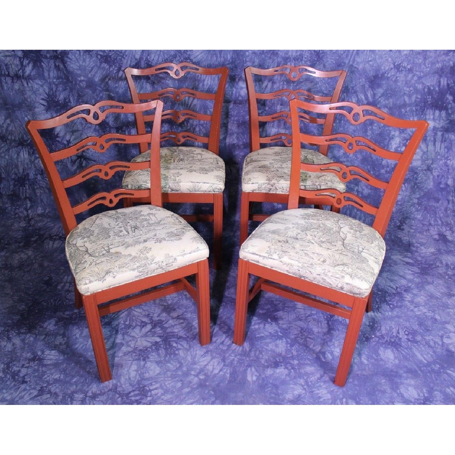 Vintage Red Painted Dining Side Chair-5