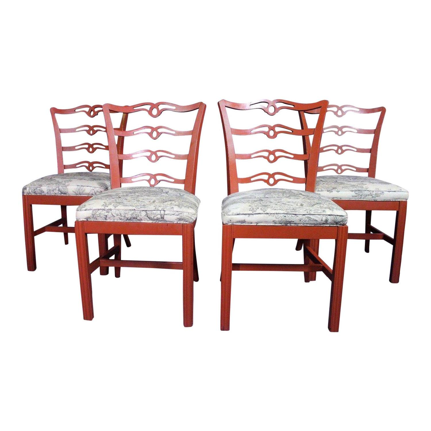 Vintage Red Painted Dining Side Chair-8