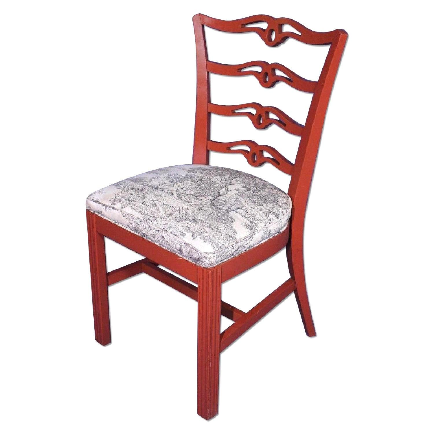 Vintage Red Painted Dining Side Chair