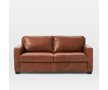 West Elm Henry Sofa in Molasses Aniline Leather