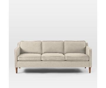 West Elm Hamilton 3 Seater Sofa in Oatmeal Pebble Weave