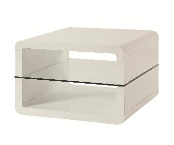 Coaster Modern Glossy White Side Table
