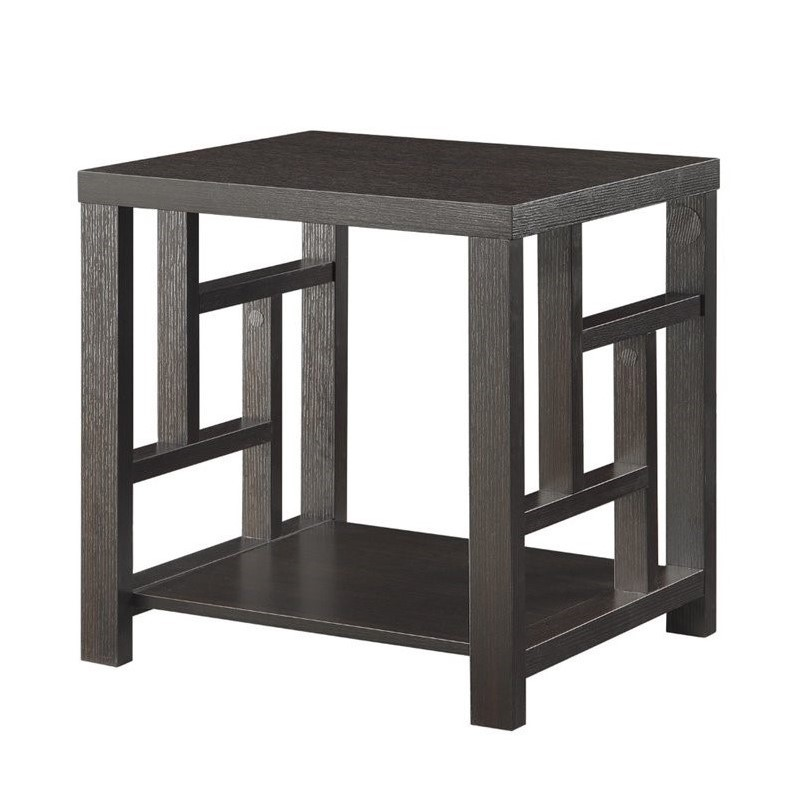 Coaster 1 Shelf Window Pane End Table in Cappuccino