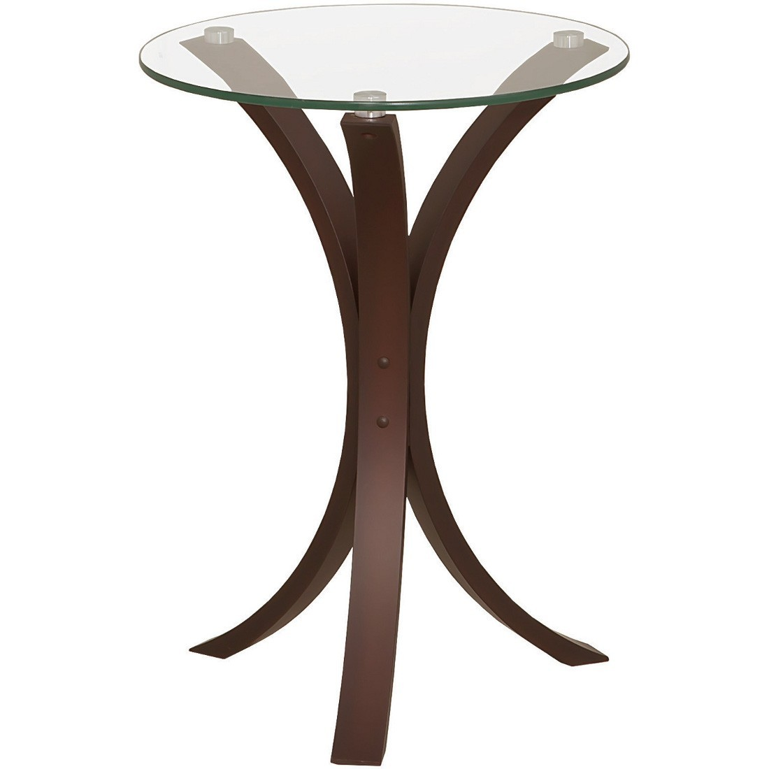 Coaster Cappuccino Snack Table w/ Clear Glass Top