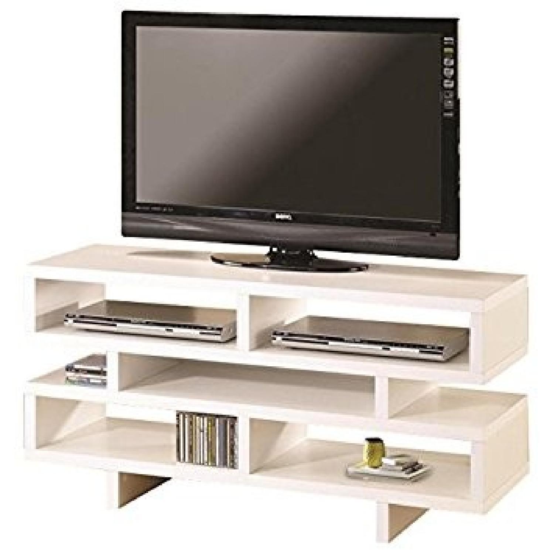 Coaster White Media TV Console w/ Open Storage