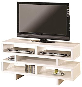 Coaster White Media TV Console w/ Open Storage
