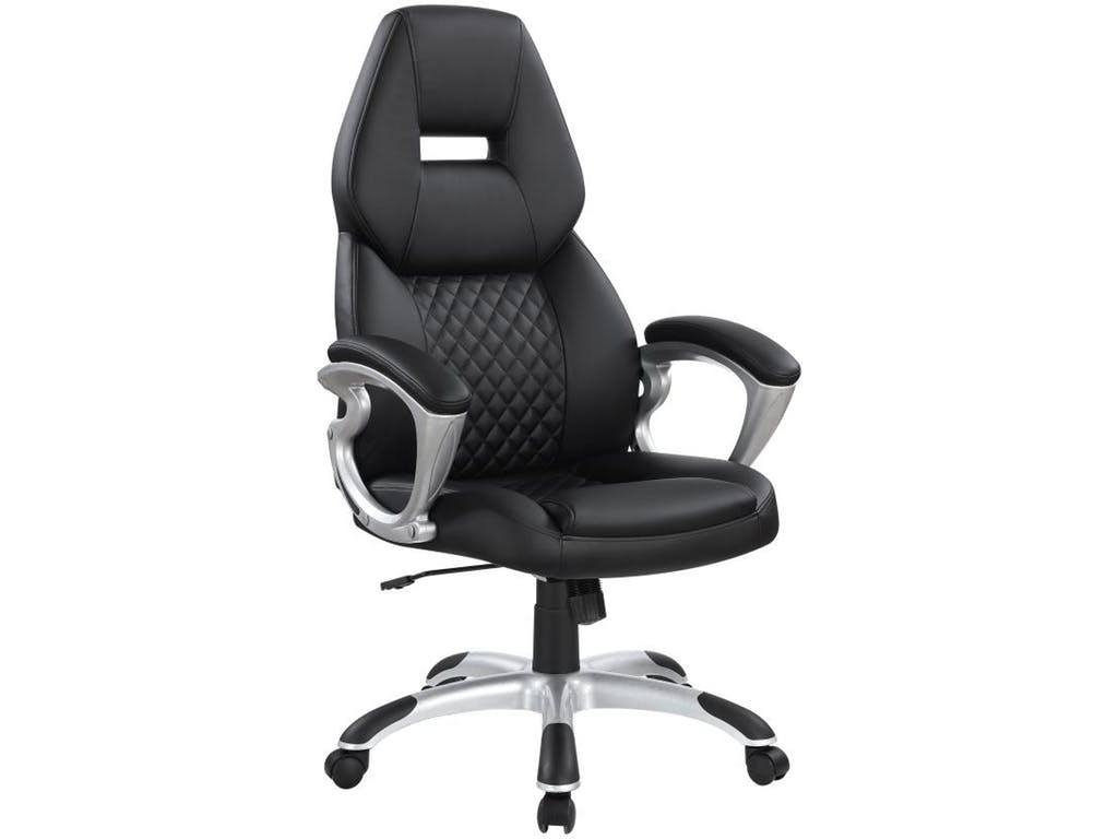 Coaster Leatherette Executive High-Back Chair in Black