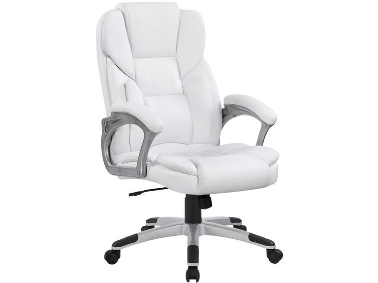 Coaster Modern White Leatherette Plush Office Chair