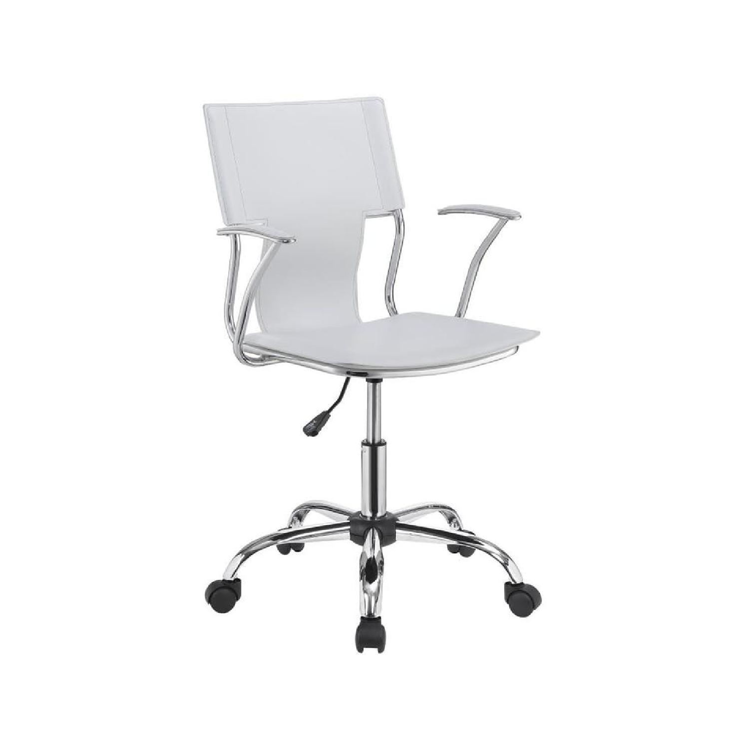 White Leatherette Office Chair w/ Chrome Metal Base