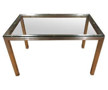 Tempered Glass & Metal Frame Dining Table