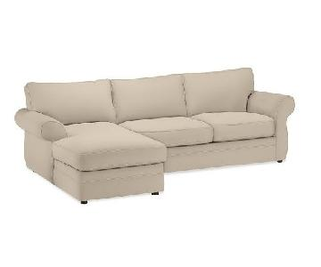 Pottery Barn Pearce Sectional Sofa in Parchment Twill