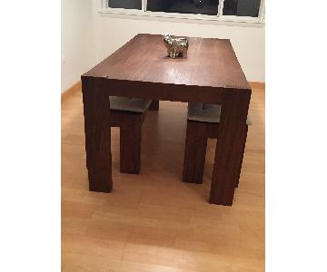 West Elm Wood Farm Dining Table w/ 2 Benches