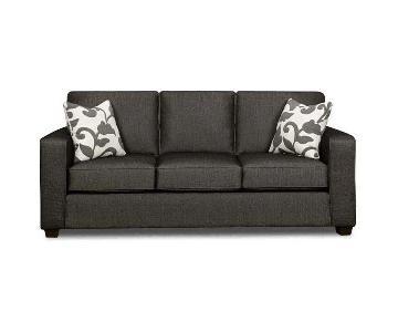 Fusion Furniture Charcoal Herringbone Sofa