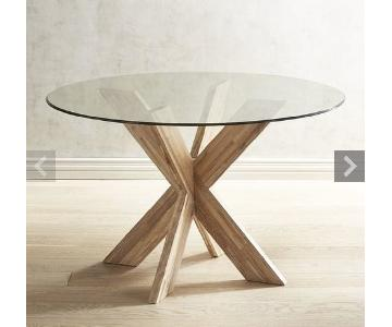 Pier 1 Round Glass Top Dining Table w/ Wooden Base
